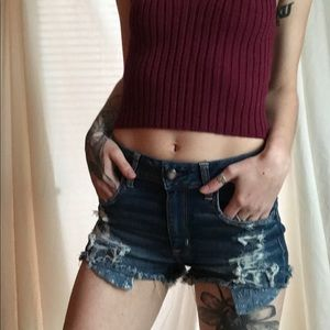 american eagle distressed shorts / pattern pockets